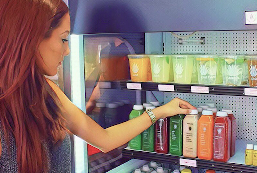 Agavi juice woman inside store