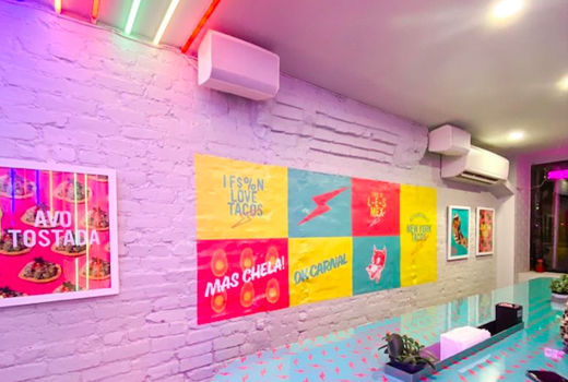 Pinks cantina inside lights colors