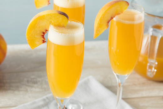 Mykonos bleu peach bellini champagne nyc