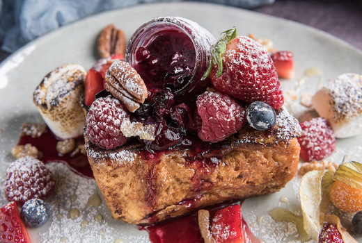 Mykonos bleu french toast berries1