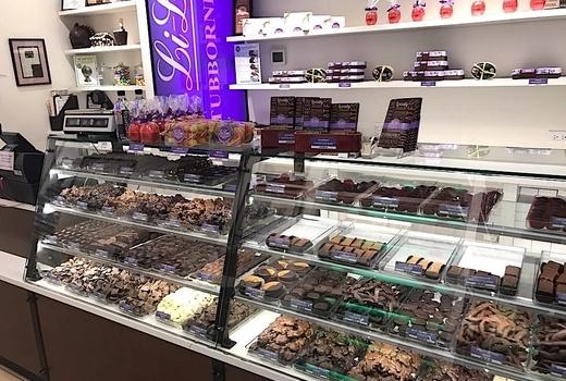 Li lac chocolates inside cool display