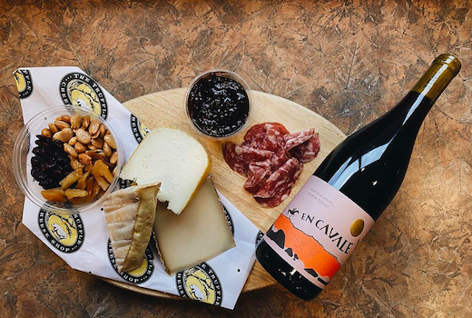 Unrooted wines spread of charcuterie