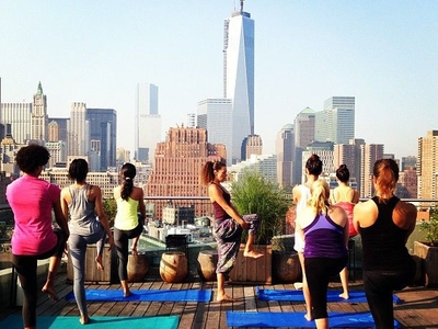 Pure Yoga Class At Mr Purple Rooftop Mr Purple Fitness Pulsd Nyc