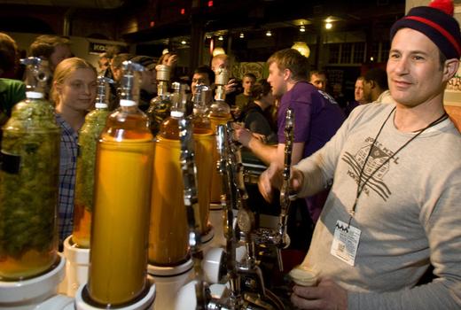Beer fest bartender pour