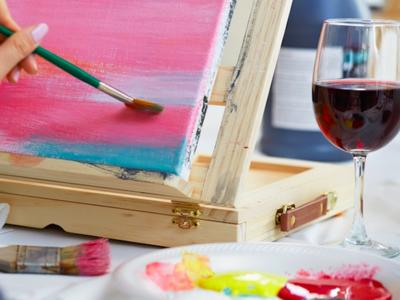 La pittura wine sip drink paint