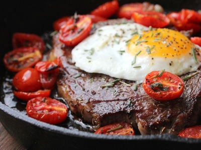 Habanero blues steak eggs closeup wow