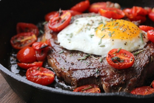 Habanero blues steak eggs closeup wow