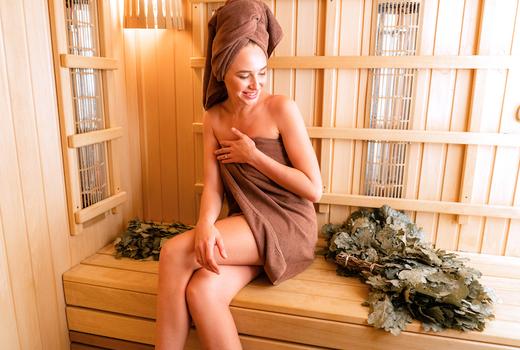 Russian turkish baths woman leaves sauna