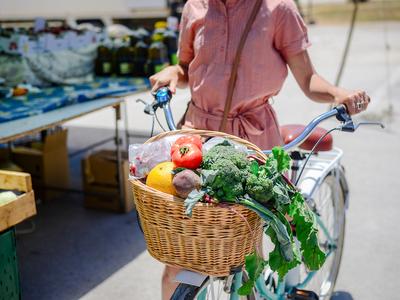 Market festival bike groceries
