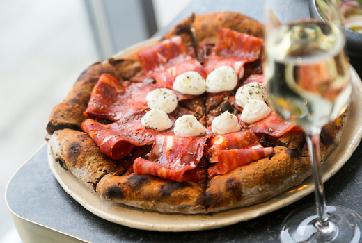 Fornino brunch meaty pizza champagne
