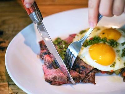 Ainsworth social steak eggs cut