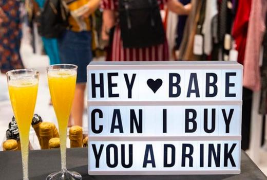Sip shop eat letterboard drink fun