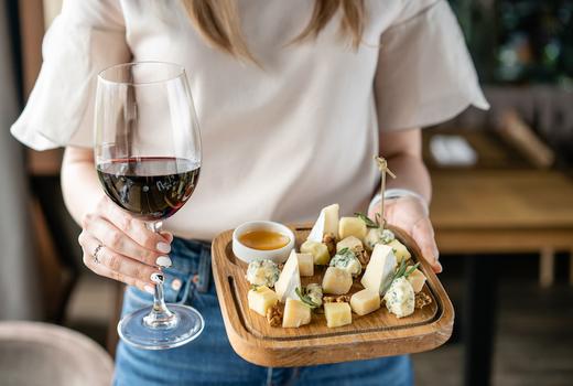 Mykonos taste cheese wine hands