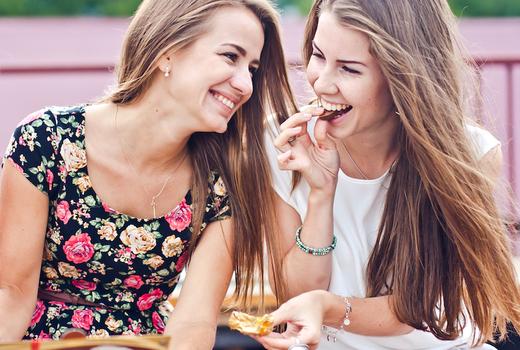 Li lac women happy eating
