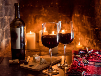 Wine insiders by the fire